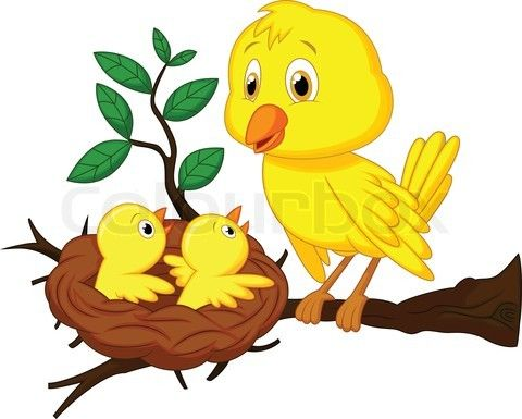 Stock vector of \'Vector illustration of Mother and baby bird.