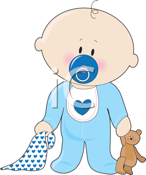 Royalty Free Clipart Image of a Baby Boy With a Soother.