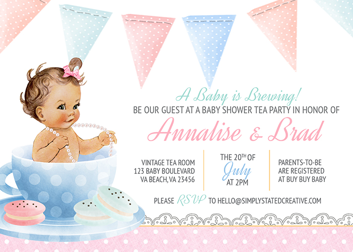 A Baby is Brewing Tea Party Custom Baby Shower Invitation.