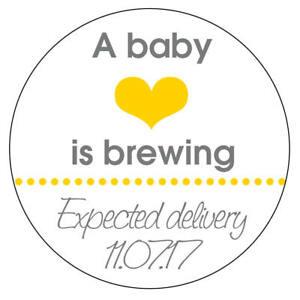 Detalles de 35 X cervecera Bebé Ducha Corazón Bebé Personalizado Amarillo  Boy Girl Stickers.