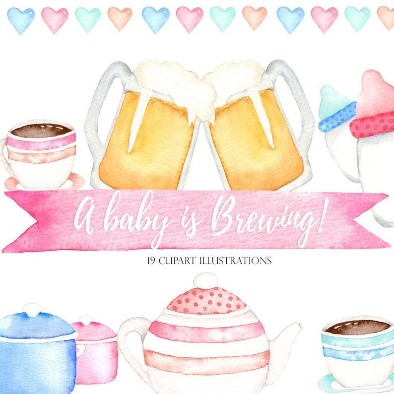 A baby is brewing clipart, babyshower clipart, watercolor beer  illustration, teapot clipart, coffee clipart, baby brewing invitation, diy.