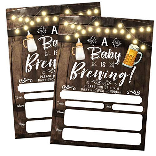 A Baby is Brewing Baby Shower Invitation, Beer and Bottle Couples.
