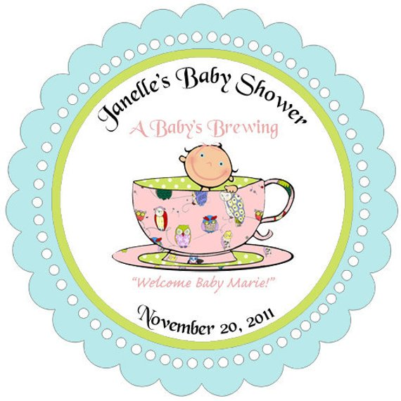 Baby Brewing Teacup Baby Shower Cupcake Toppers / Circles.