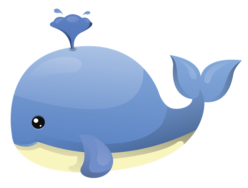 Cartoon whale clipart.