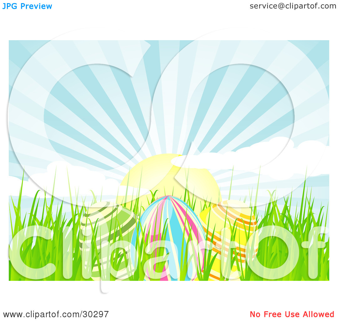 Clipart Illustration of Three Colorful Easter Eggs In Spring Grass.