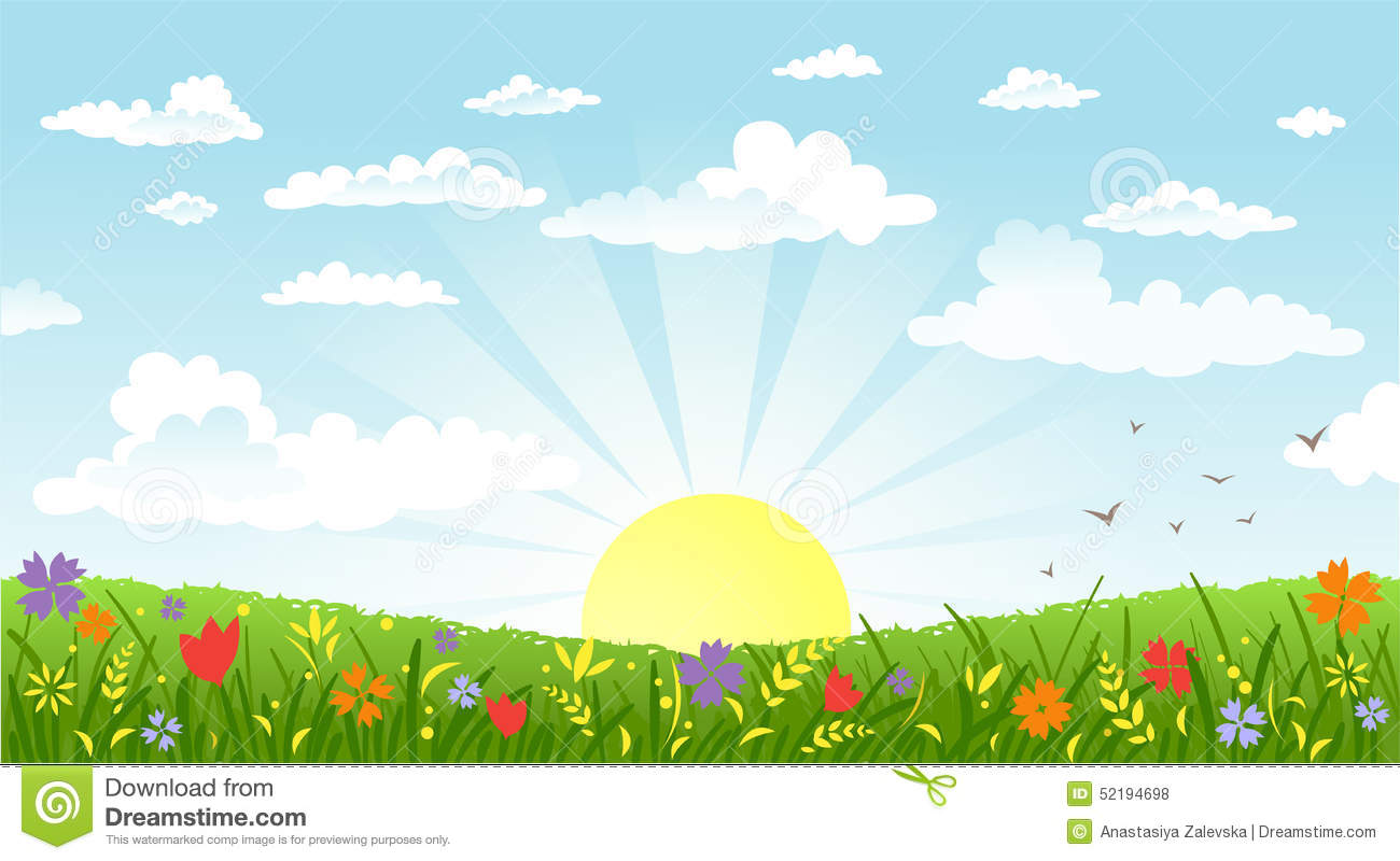Countryside Panorama In The Morning Stock Vector.