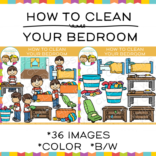 How to Clean Your Bedroom Sequencing Clip Art.