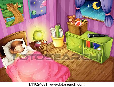 A girl and a bedroom Clipart.