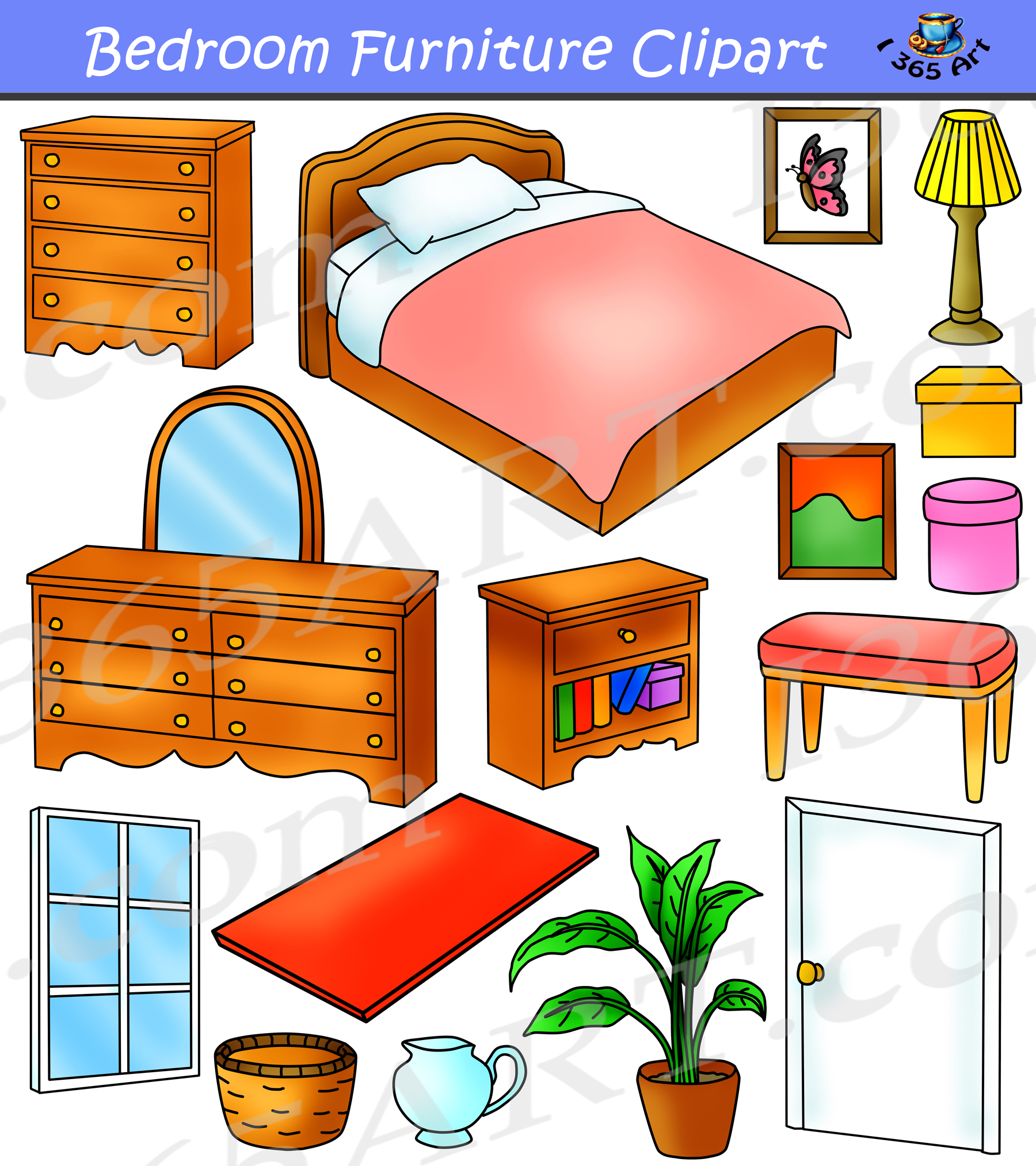 Bedroom Clipart Home Furniture Graphics Commercial.
