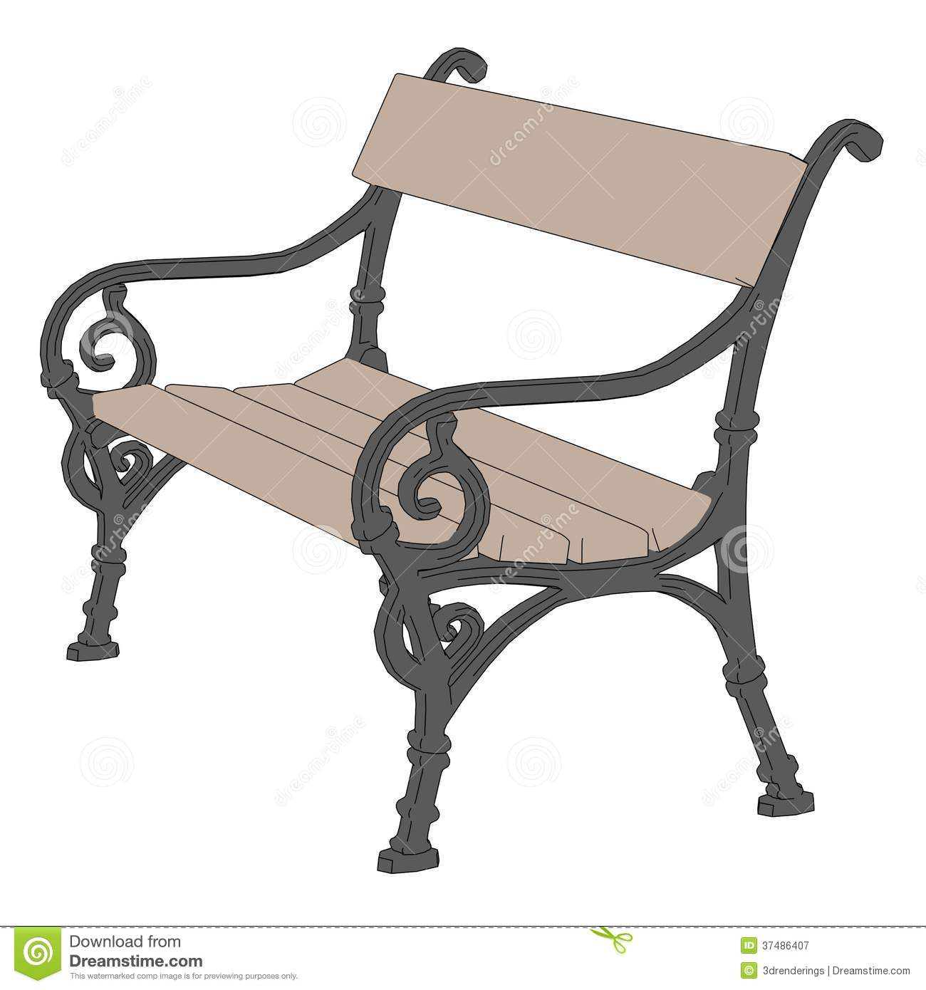 Clipart park bench.