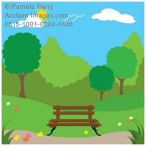 Clip Art Illustration of a Spingtime Park With a Bench and Trees.