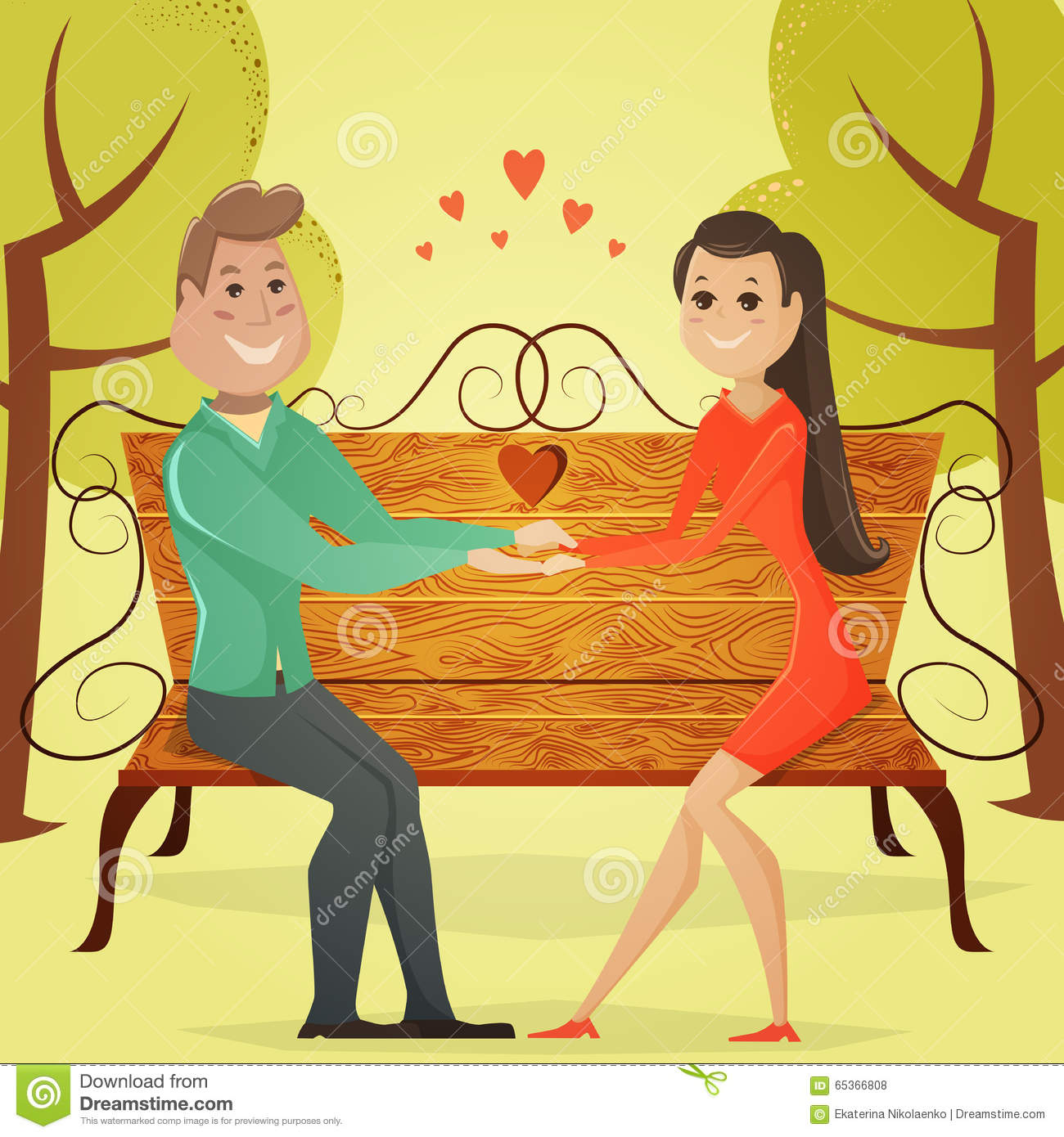 Loving Couple On A Bench In The Park. Cartoon Vector Illustration.