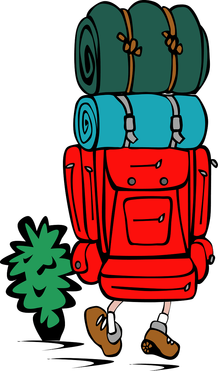 Hiker with a big backpack clipart. Free download..
