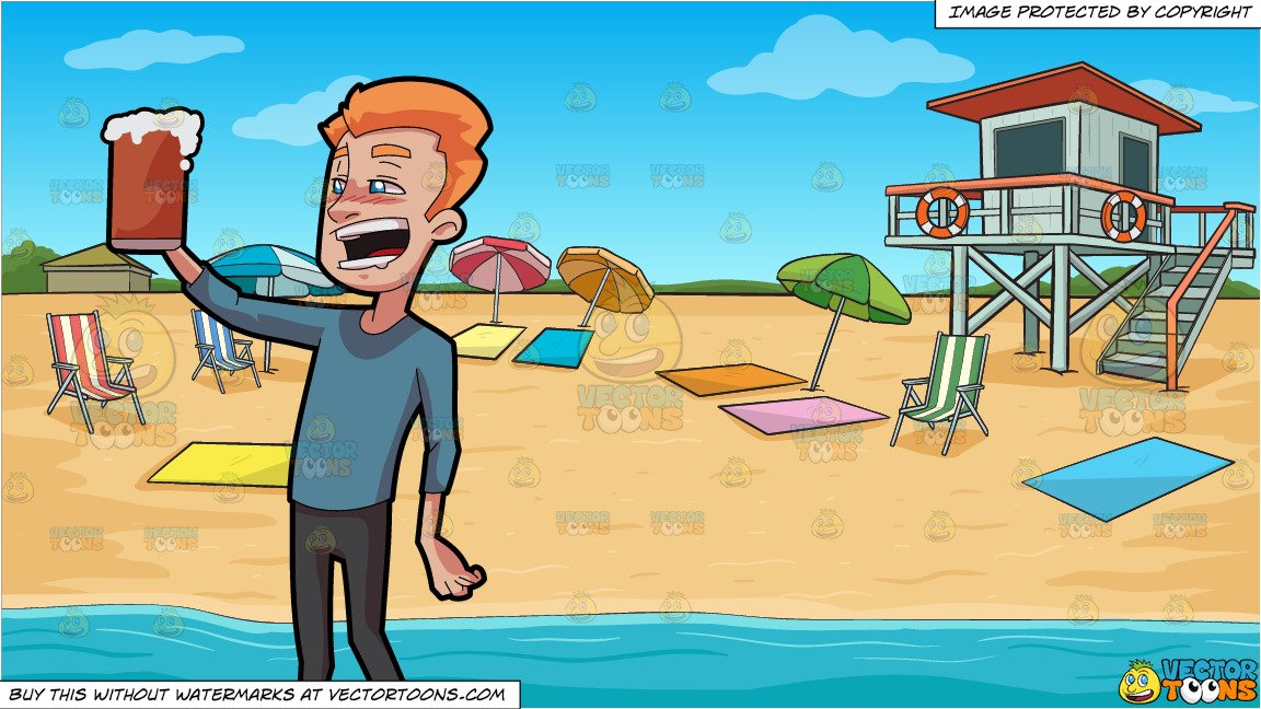 A Tipsy Man Enjoying A Full Mug Of Beer and Summer Beach Shore Background.
