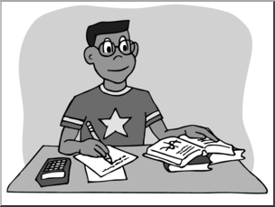 Clip Art: Kids: Boy Studying Grayscale I abcteach.com.