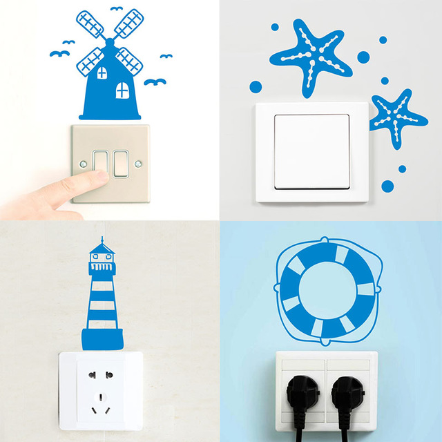 Aliexpress.com : Buy Nautical Decor Switch Panel Sticker Blue.
