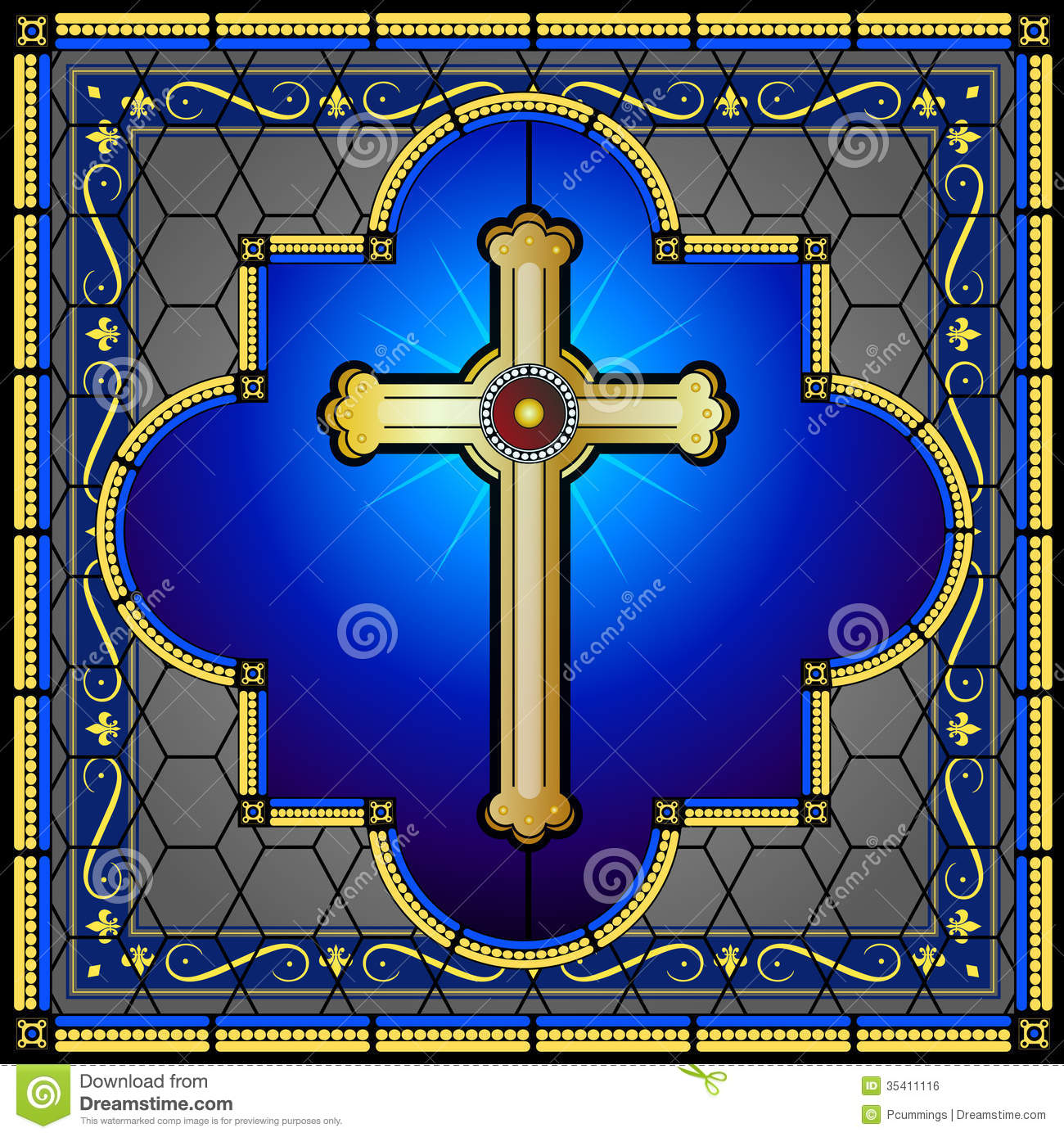 Stained Glass Christian Cross Window Panel Royalty Free Stock.