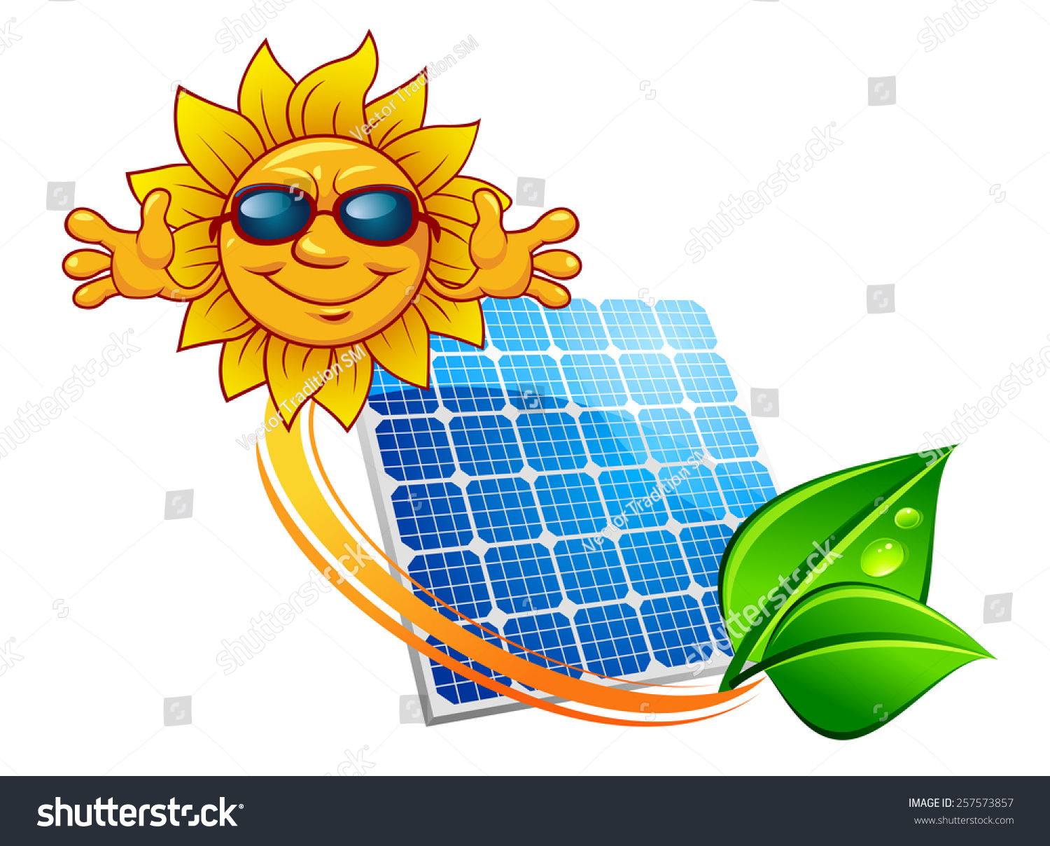 Solar Energy Panel Decorated Sun Rays Stock Vector (Royalty Free.