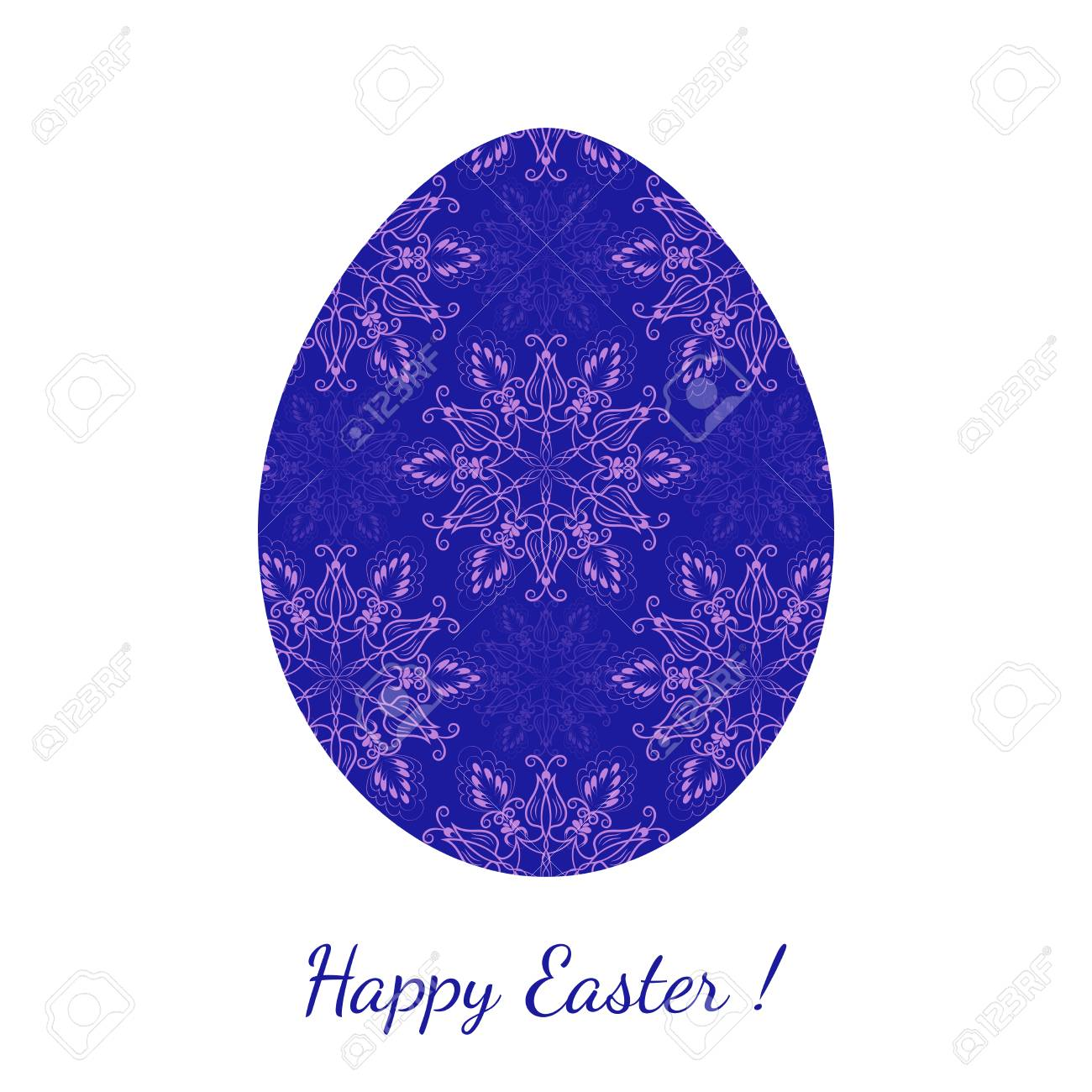 Easter Egg Decorated With A Blue Floral Seamless Ornament With.