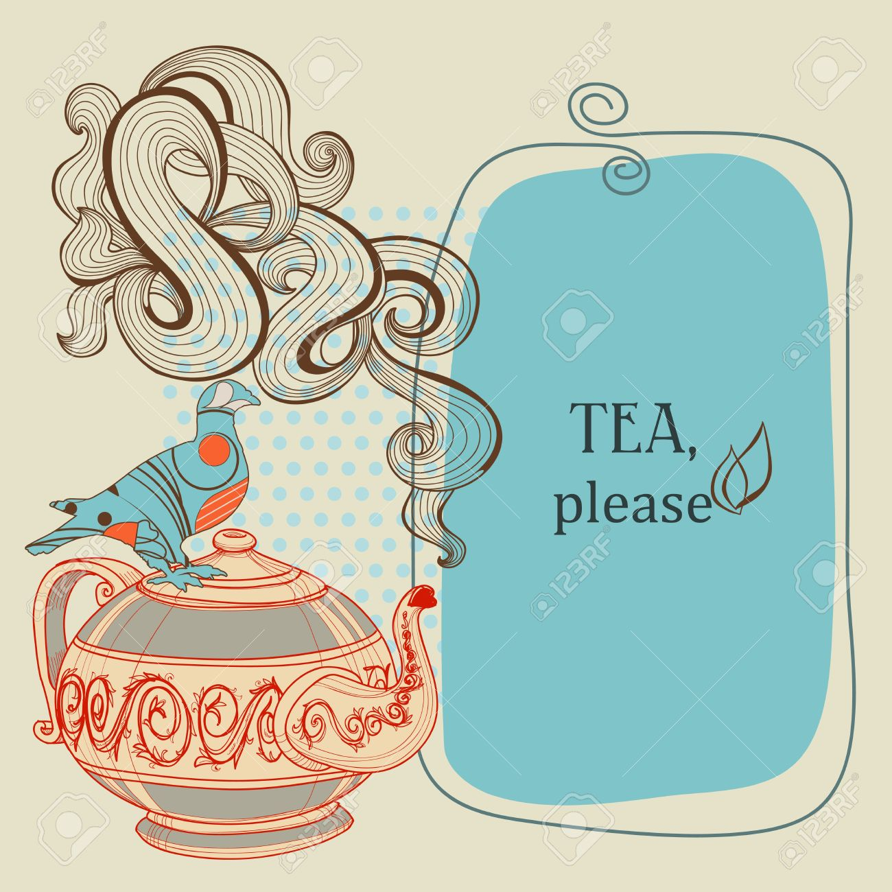Tea Or Coffee Panel With Decorative Bird Royalty Free Cliparts.