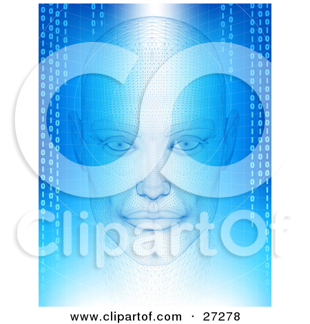 Clipart Illustration Of A Digital Blue Robot Head With Circuit.