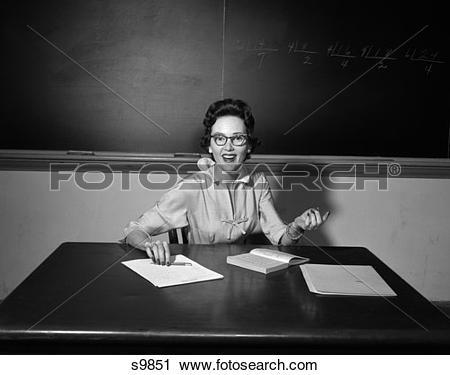 Stock Photography of 1950 1950S School Teacher Wearing Glasses.