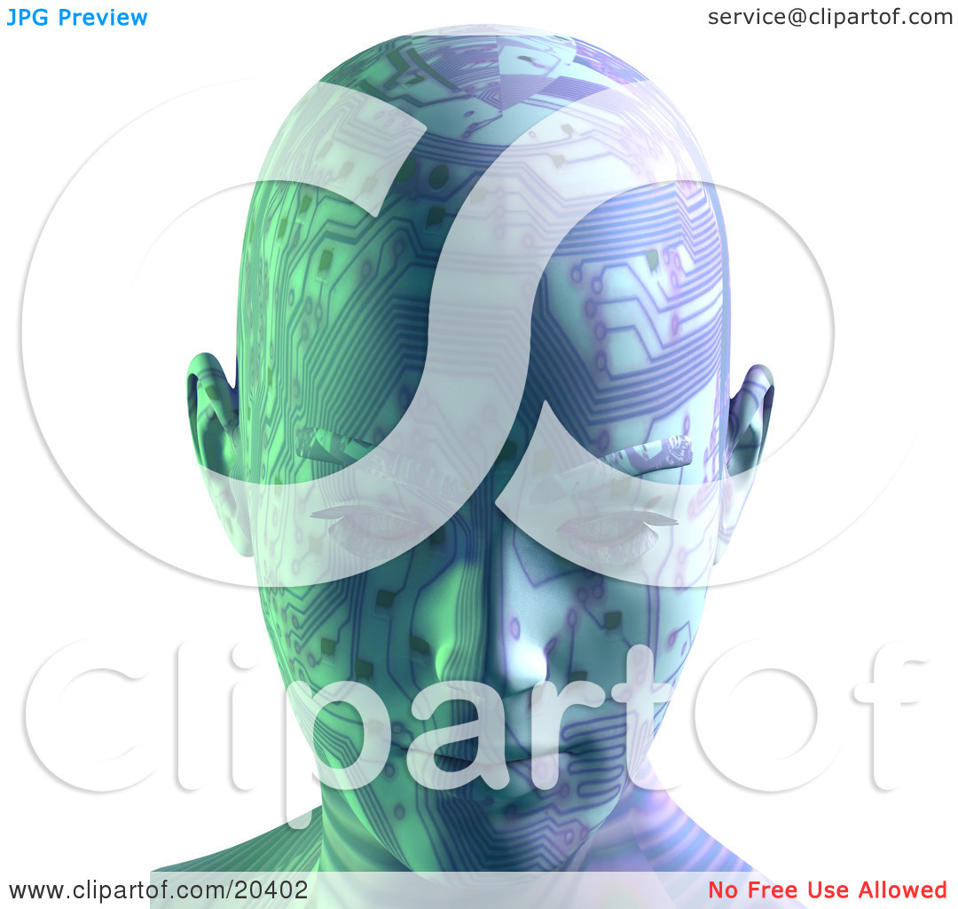 Clipart Illustration Of A Robot's Head With Circuit Board Patterns.