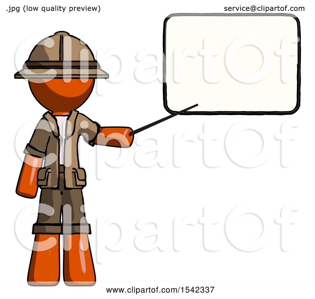 Orange Explorer Ranger Man Giving Presentation in Front of Dry.