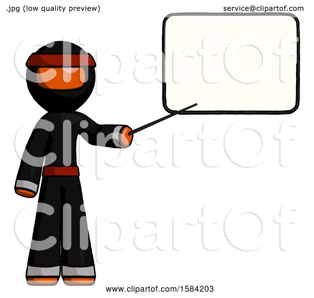 Orange Ninja Warrior Man Giving Presentation in Front of Dry.