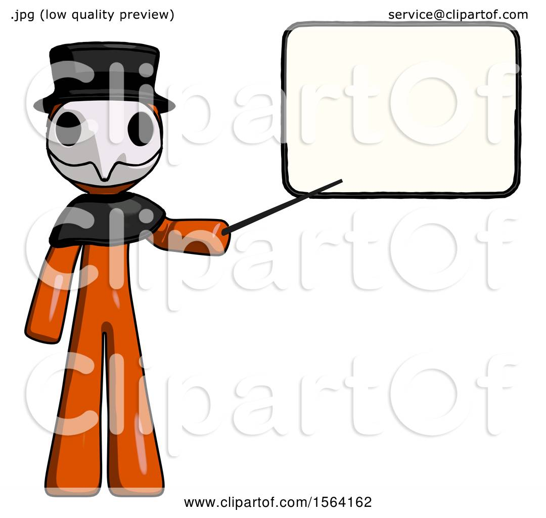 Orange Plague Doctor Man Giving Presentation in Front of Dry.