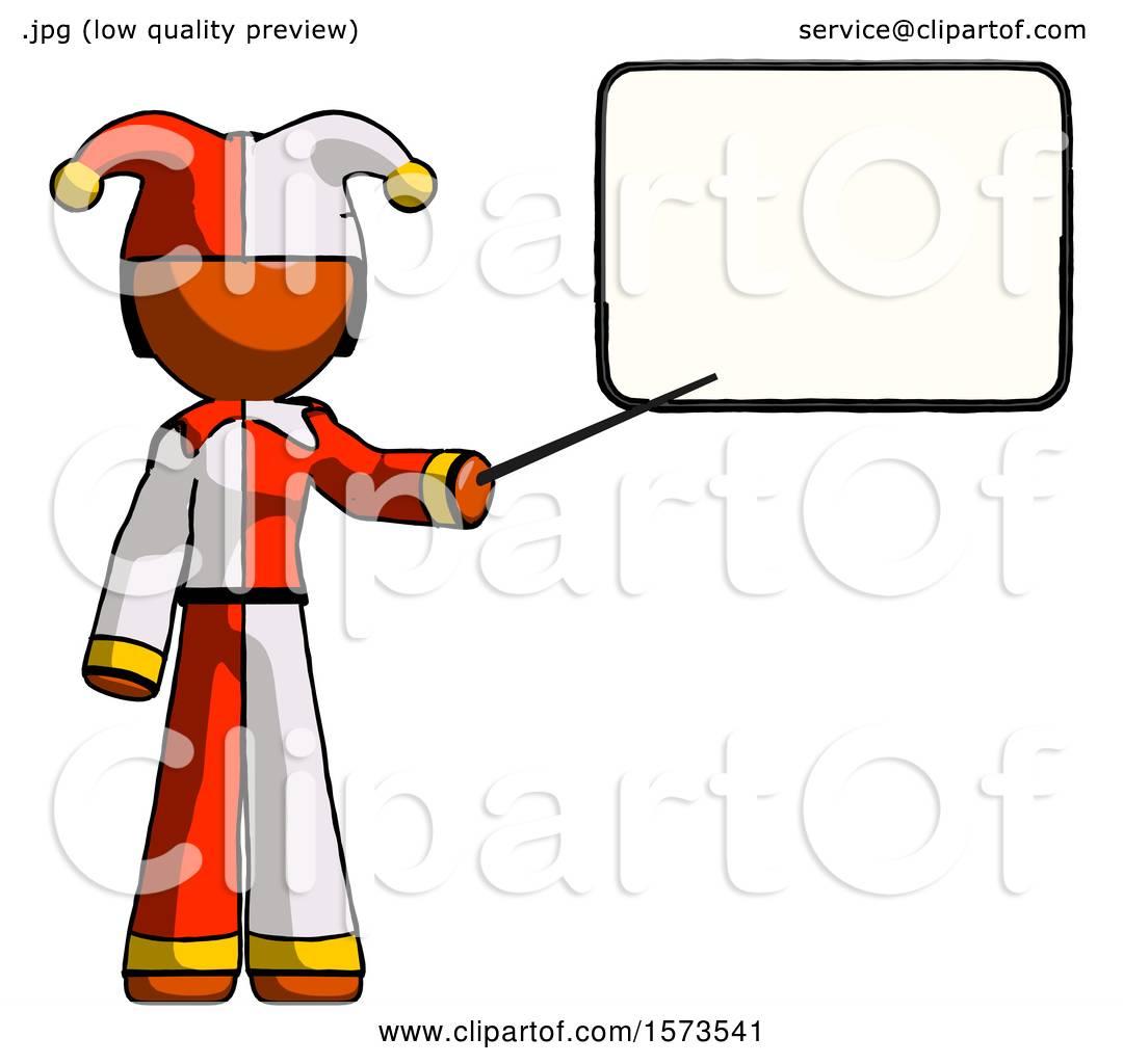 Orange Jester Joker Man Giving Presentation in Front of Dry.