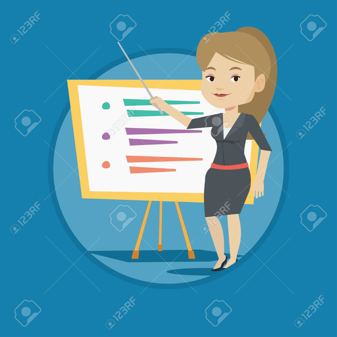 Teacher Or Student Standing In Front Of Board. Royalty Free Cliparts.