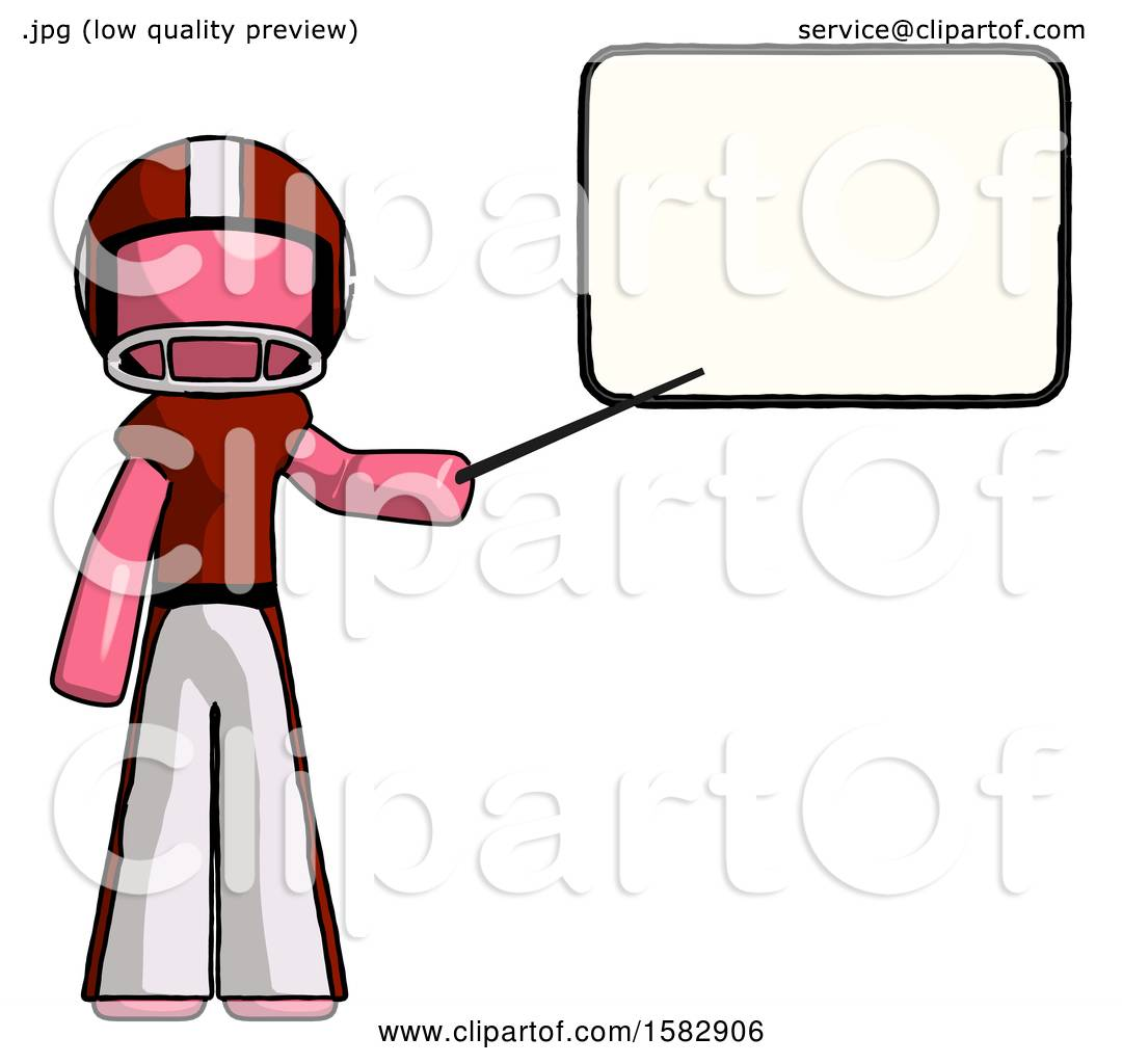 Pink Football Player Man Giving Presentation in Front of Dry.