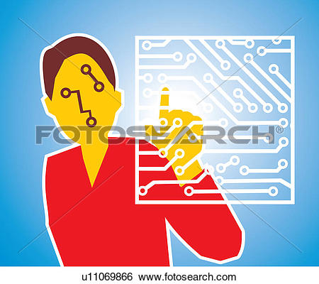 Stock Illustration of Front view of a woman touching circuit board.