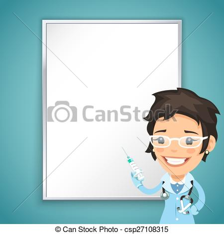 Vector Clip Art of Lady Doctor Front of the Board with Syringe. In.