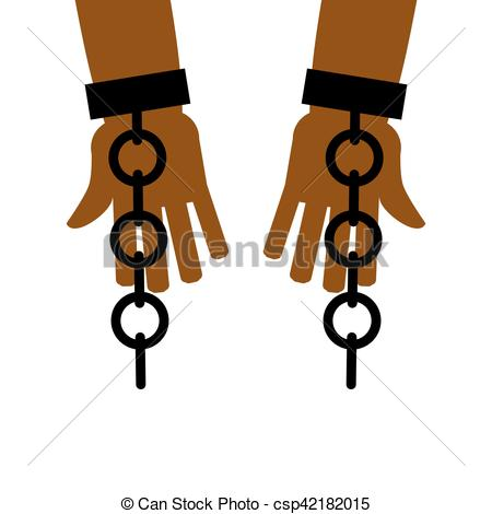 Vector Clip Art of Emancipation from slavery. break free. Chains.