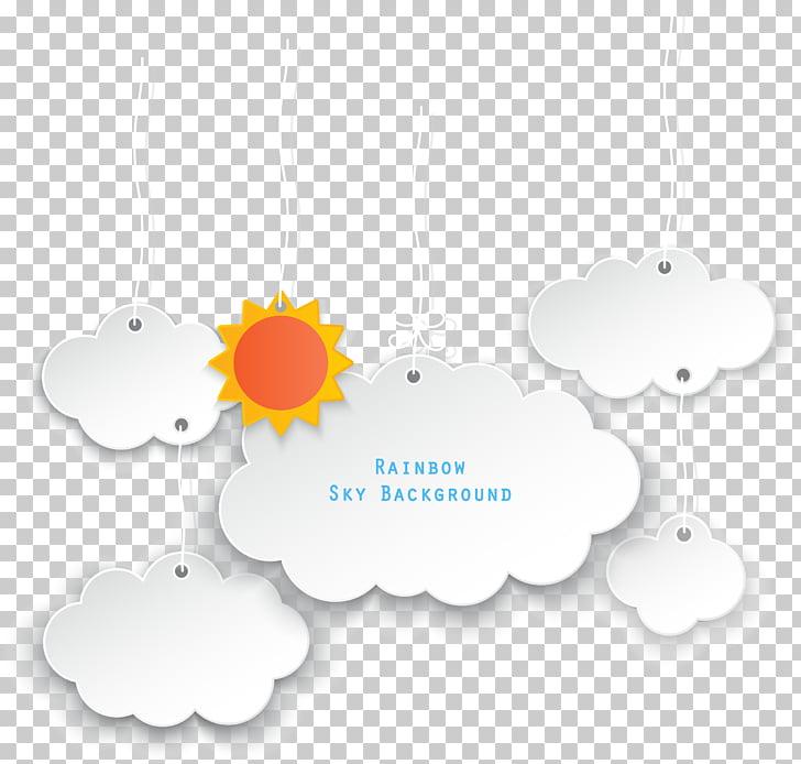 Text box, sun clouds Dialog, rainbow sky background.