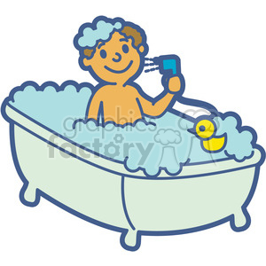 boy taking a bath cartoon clipart. Royalty.