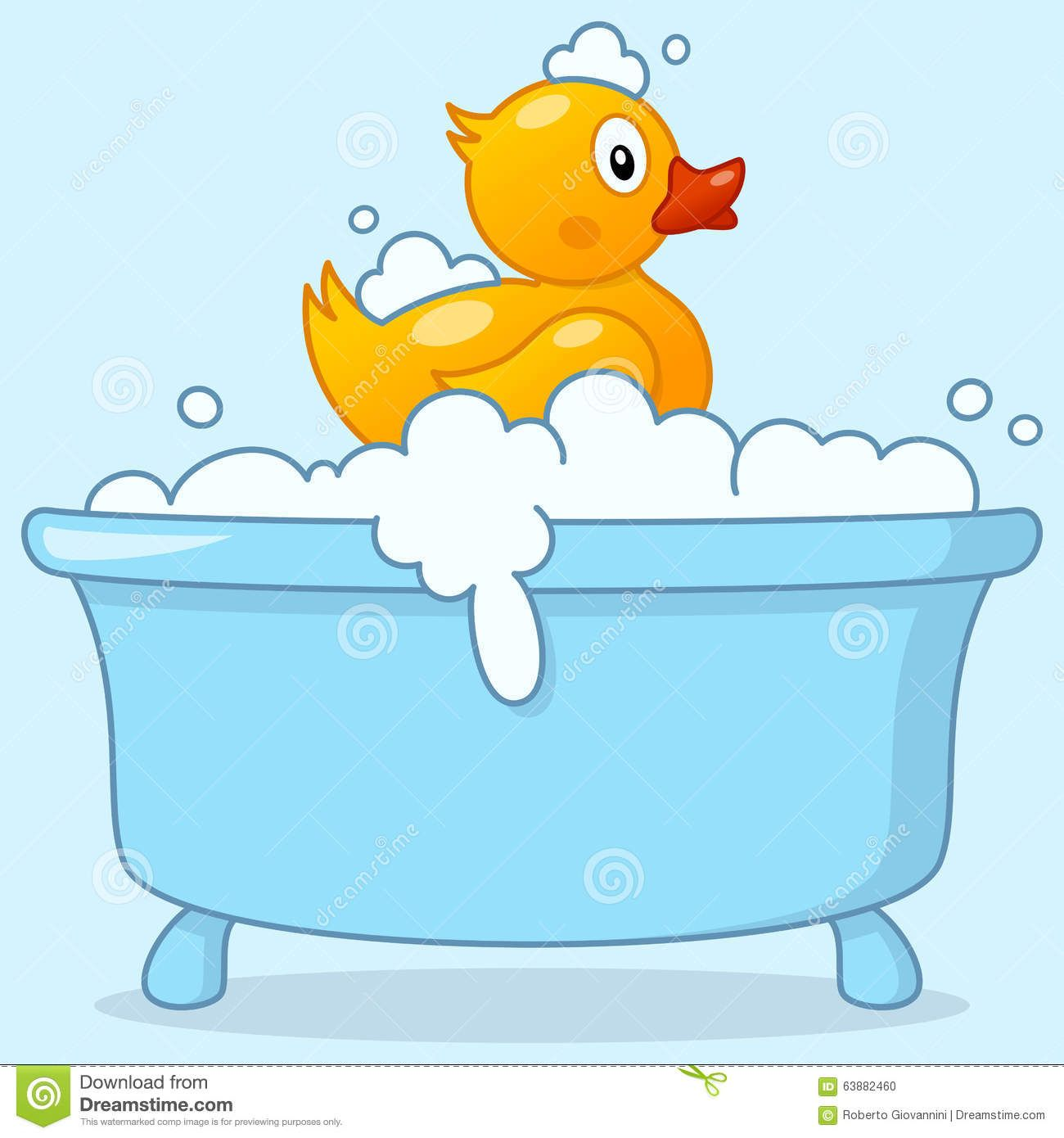 Cartoon Boy Bathtub With Rubber Duck Stock Vector.