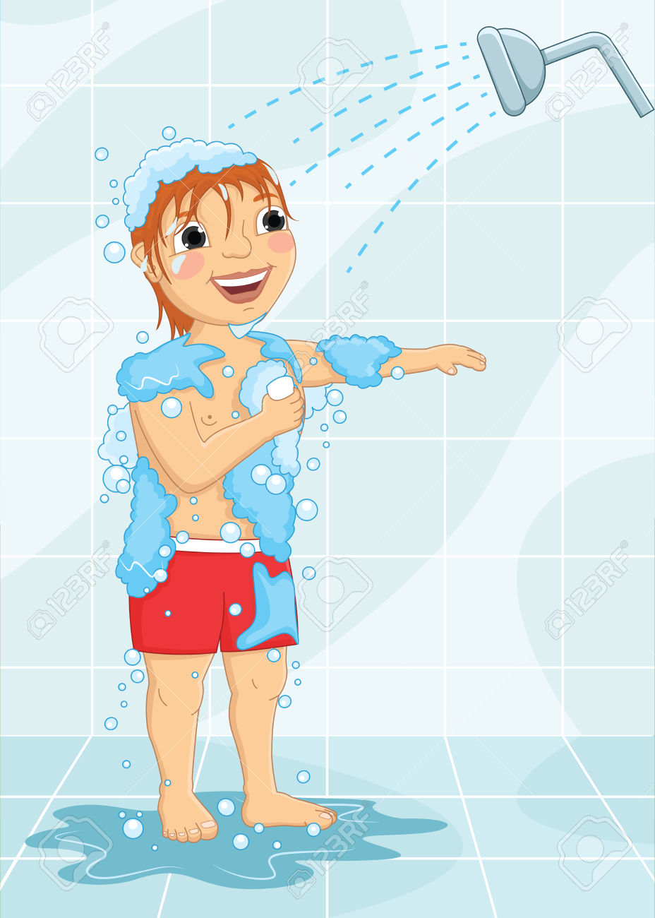 Taking A Bath Clipart For Kids.