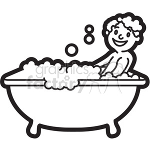 boy taking a bath black and white outline clipart. Royalty.