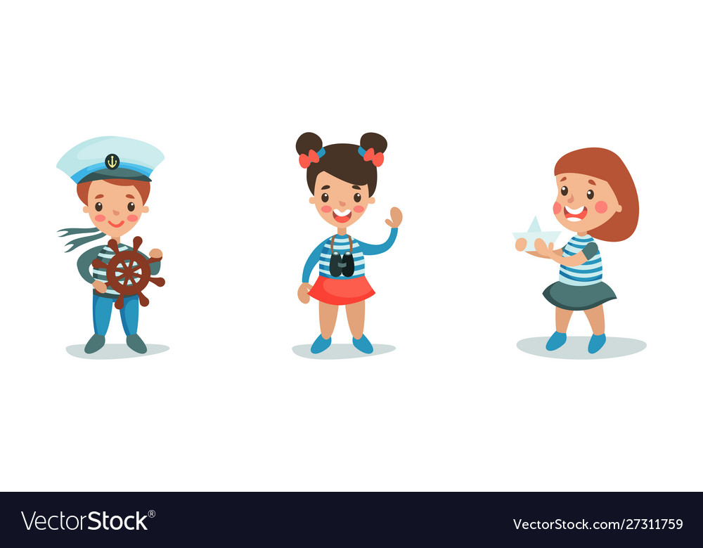The boy and two girls play in sailors wearing.