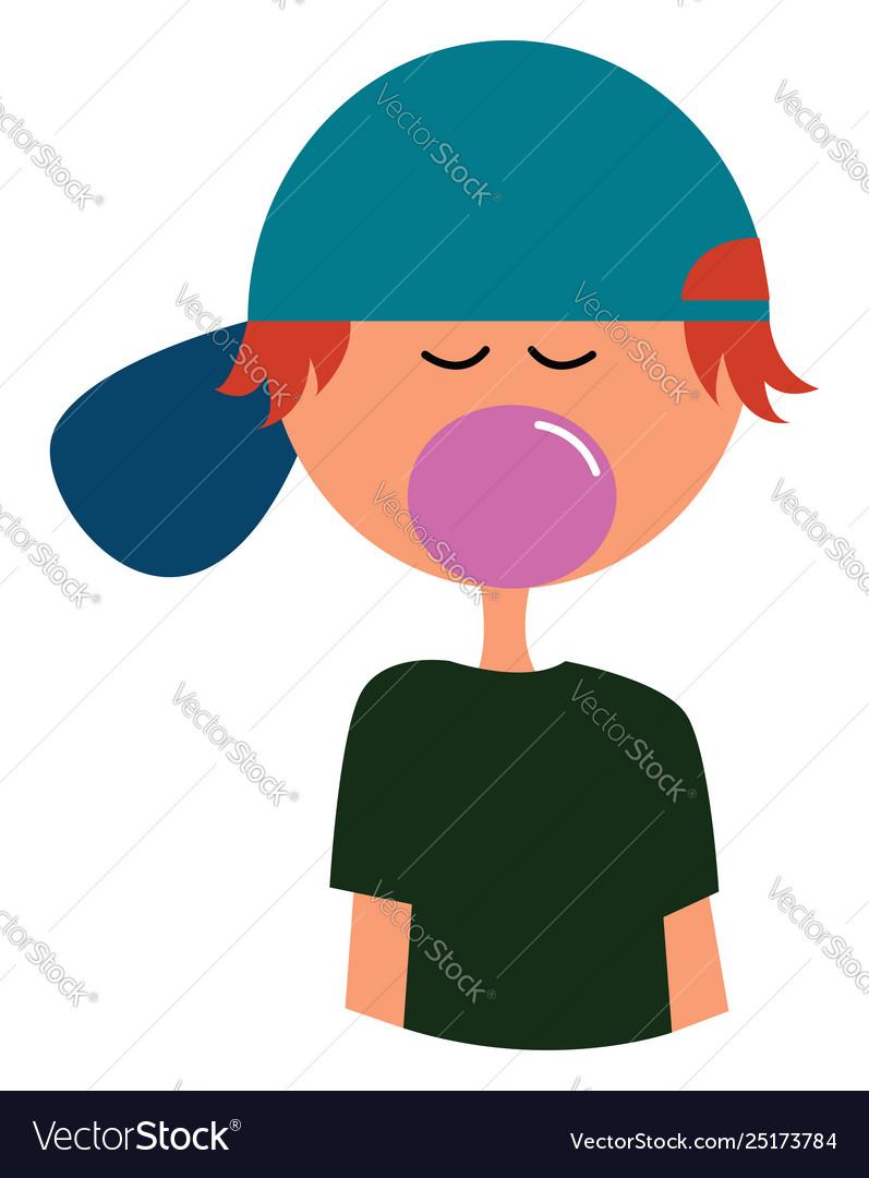 Clipart a boy blowing a bubble gum or color.