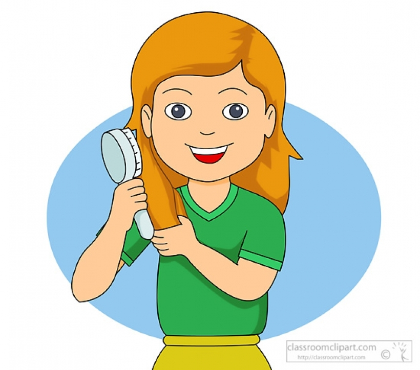 Kids Combing Hair Clipart.