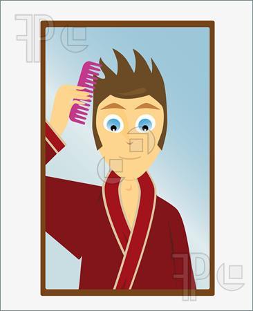 Boy Combing Hair Clipart.
