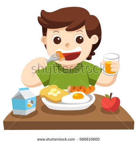 Little Boy Happy Eat Breakfast Morning Stock Vector Hd.