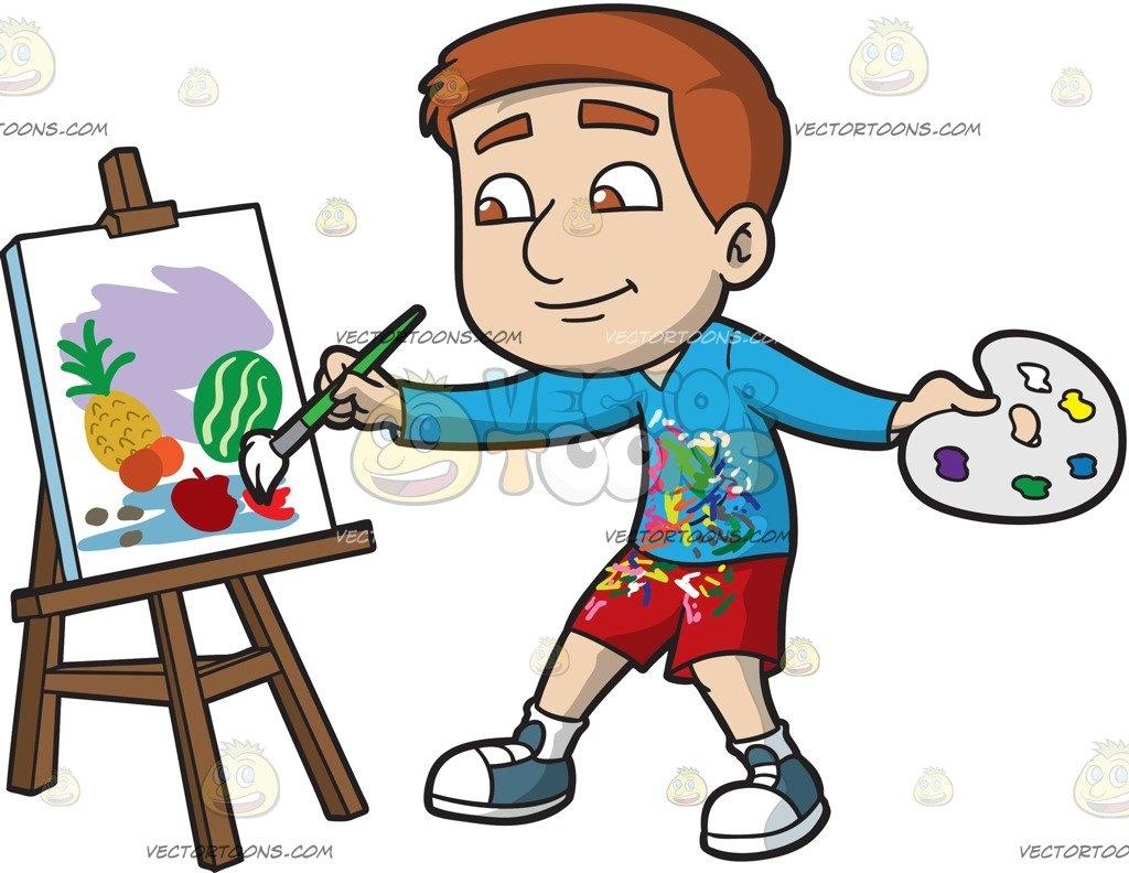 A Boy Painting Still Life Fruits Cartoon Clipart.