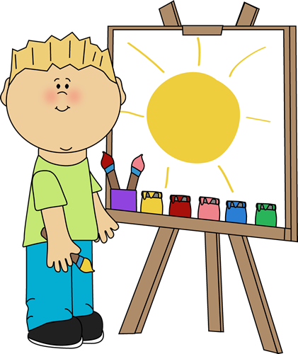 Boy Painting on an Easel Clip Art.