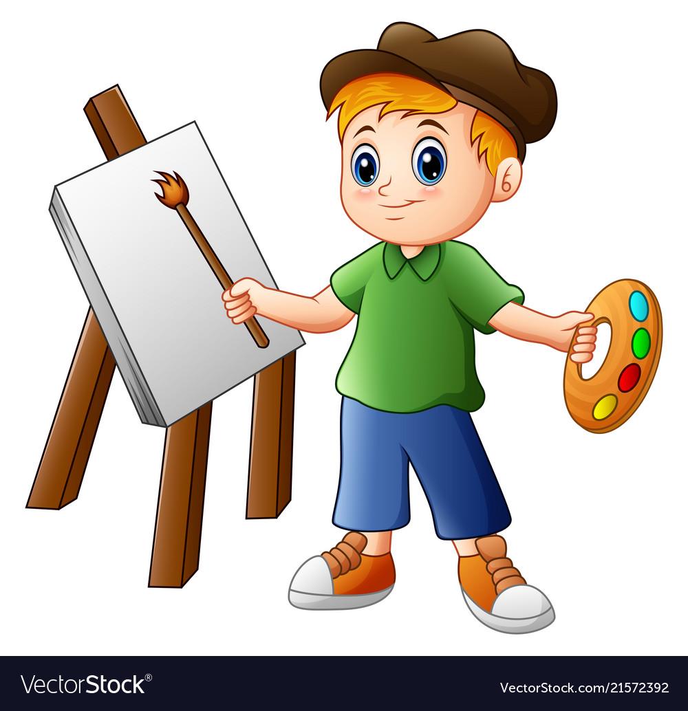 Cartoon boy painting.