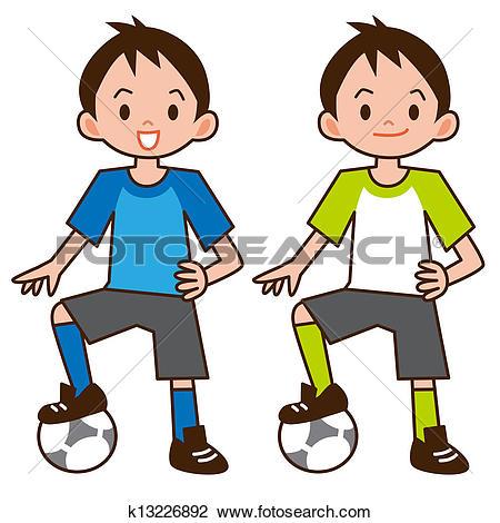 Clip Art of Boy playing football k13226892.